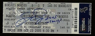 Jermaine Dye Ip Auto Signed 2005 World Series Ticket 10/23/05 White Sox Insc !!!