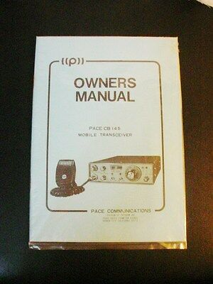 PACE CB 145 MOBILE TRANSCEIVER OWNERS MANUAL- FREE SHIPPING