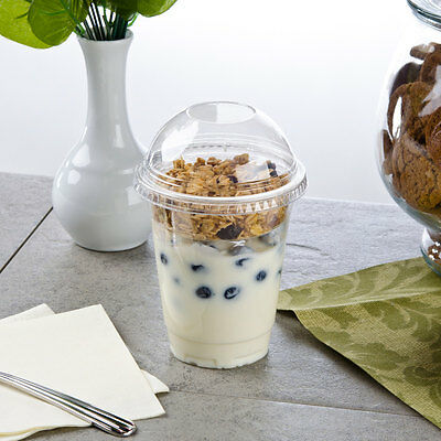 Pack of 25 Clear Plastic Parfait Cup 12 oz with 4 oz Insert and Dome Lid