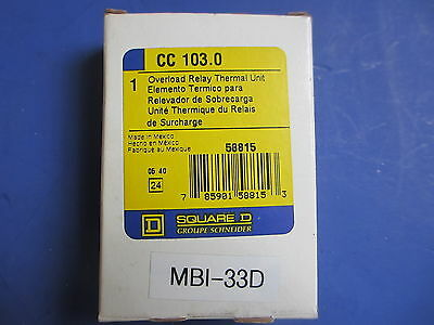 Square D CC103.0 Overload Relay Thermal Unit (Lot of 2)