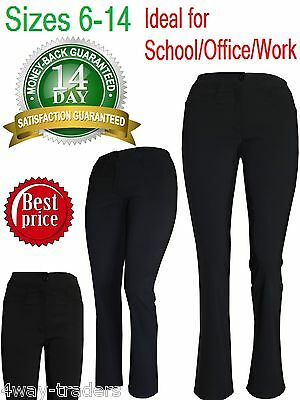 Ladies Girls stretch straight leg trousers office school black front pockets