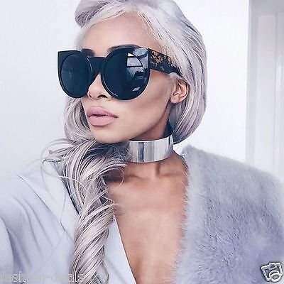 """Oversized Round Cat Eye """" WOLVES in the valley"""" Style Women Sunglasses Vintage"""