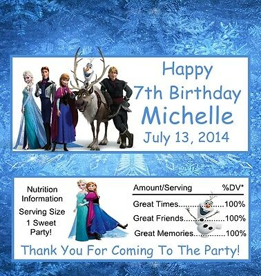 12 Frozen Personalized Birthday Candy Bar Wrapper