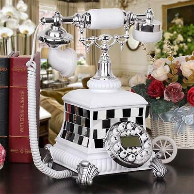 European Style Antique Corded Telephone Retro Vintage home office Phone Resin
