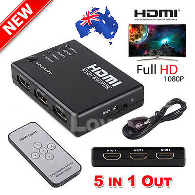 OZ 5 Port 1080P Video HDMI Switch Switcher Splitter for HDTV DVD PS3 + IR Remote