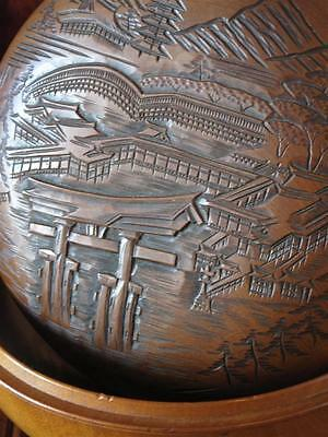 Old Chinese Carved & Signed Wooden Bowl & Lid… with wonderful carving...
