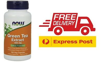 Now Green Tea Extract 400mg 100 Capsules Fat Burner Weight Loss Antioxidant