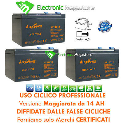KIT BATTERIE 36V 14Ah GEL/AGM CICLICHE DEEP-CYCLE BICI ELETTRICA - 6 DZM 10-14