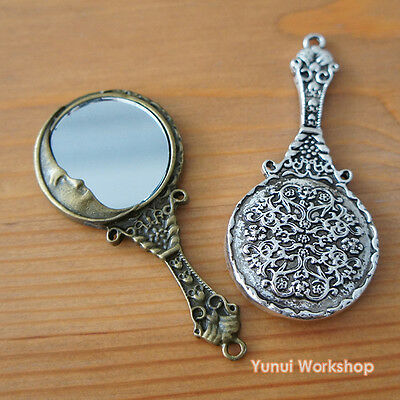 Man in the Moon Hand Mirror Pendant Antique Colors 62mmX30mm Deco DIY