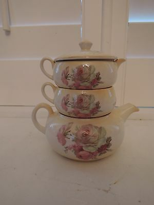 Vintage James Kent Pink Roses Stacking Teapot Tea for One Staffordshire