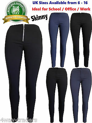 Black Girls Skinny School Trousers Womens Work Office Blue With Zip Strectchy