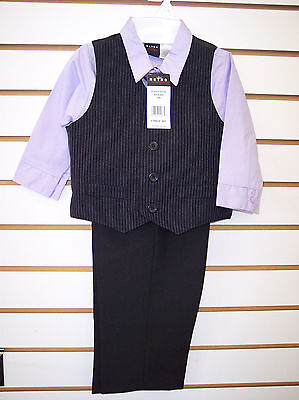Toddler /& Boys Perry Ellis Purple or Blue 4pc Vest Suit Size 12mo 5 Infant