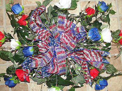 Independence Day Patriotic Cemetery Grave Headstone Pillow Sprays Pussy Willows
