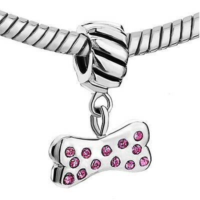 Pink Crystal Dog Bone Dangle ~Silver Plated Charm Bead~ US SELLER!