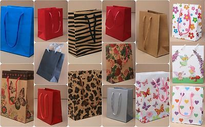 PACK OF 5 SMALL GIFT BAGS MINI CHRISTMAS GIFT BIRTHDAY PRESENT 5pc OF 1 DESIGN