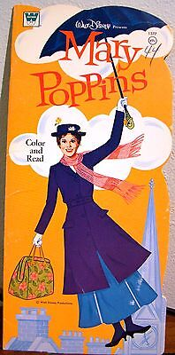 MARY POPPINS~1973 Disney Read & Color Book.  Vintage Whitman Childrens Book