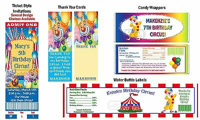 Circus Carnival Clown ~ Invitations Supplies Favors ~ Birthday Party Baby Shower