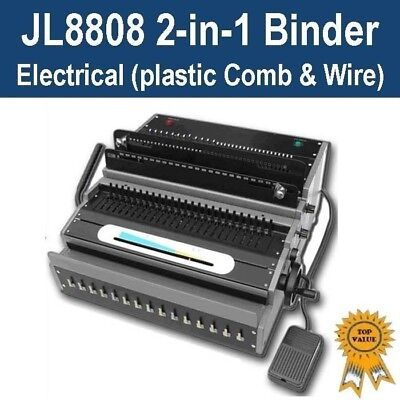 Heavy  Duty Electric Plastic Comb & Wire 2-in-1 Binder/Binding Machine (JL8808)