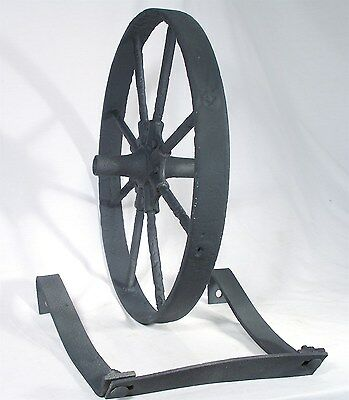 "Antique Garden Home Decor Hit Miss Cart Wagon 16"" Wheel Barrel Barrow & Bracket"