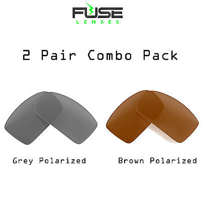 FUSE Grey & Brown 2Pair Combo Pack  Polarized Lenses for Oakley Pit Boss