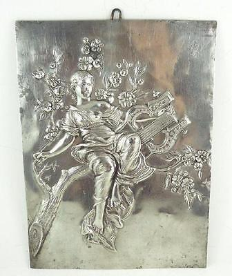 Antique Nickel-Plated Art Nouveau Metal Wall Plaque - Lady with Lyre c. 1910-20
