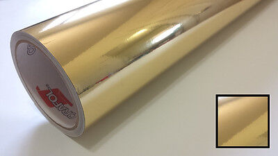 Gold Chrome Mirror Vinyl Wrap Graphic Decal Sticker Roll Overlay Craft & Cut 24""