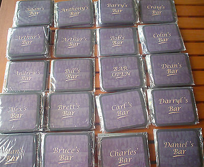 Personalised Rubber Backed Coasters Set of 4 New Please See Photos/Description