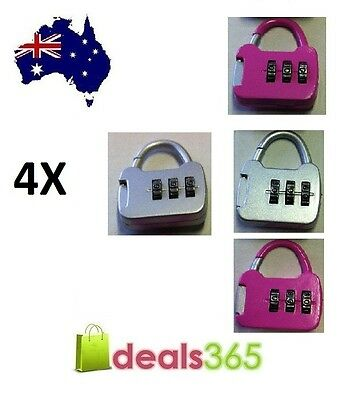 4 X 3 Digit Combination Lock Travel Luggage Small Padlock Suitcase Pink/Silver