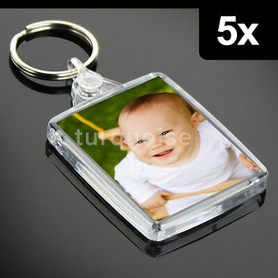 5x Clear Acrylic Plastic BLANK KEYRINGS 45 x 35 mm Insert - PASSPORT PHOTO SIZE