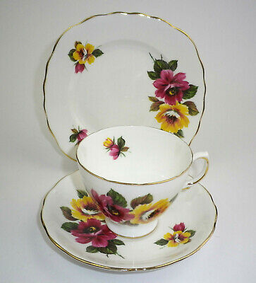 Queen Anne China Trio by Ridgway Potteries - Red and Yellow Roses