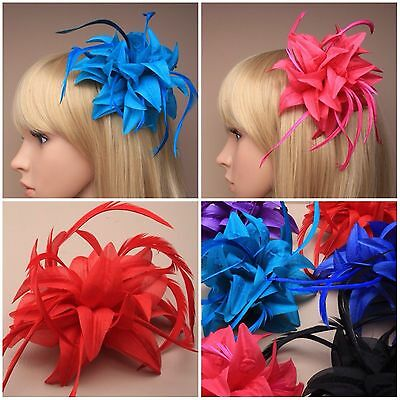 Fabric Flower Coloured Fascinator On A Forked Beak Clip
