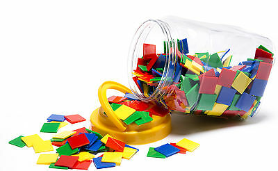 600 Square Counters Tiles Maths Games Bulk Buy Classroom Set in Storage Jar