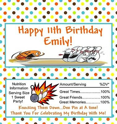 25 Personalized Bowling  Birthday Candy Bar Wrappers