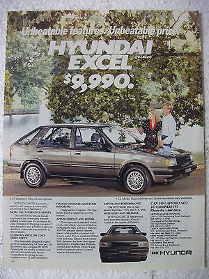 1986 Hyundai Excel Australian Magazine Fullpage Colour Advertisement