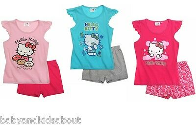 Girls Hello Kitty Short Sleeve Pyjama Set T-Shirt & Shorts; 4-10 yrs; BNWT