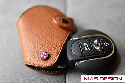 Leather in Dark Brown key case for 2014 and on MINI Cooper S ONE F54 New Clubman