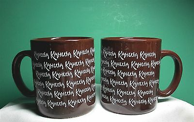 Kahlua Mugs Cups •2• Chocolate Brown White Letters Bar Advertising Collectible