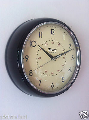 Round Kitchen Clock Retro Vintage Shabby Red Black Cream Blue Chrome Wall Clock