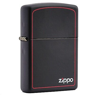 Zippo Black Matte / Logo Border Windproof Lighter 218zb New In Box