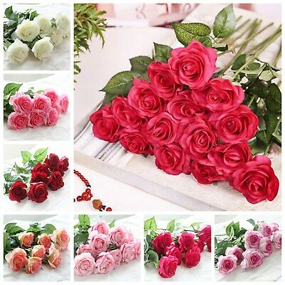 Latex Real Touch Rose Flowers For Wedding Bouquet Home Party Decoration 20 Head