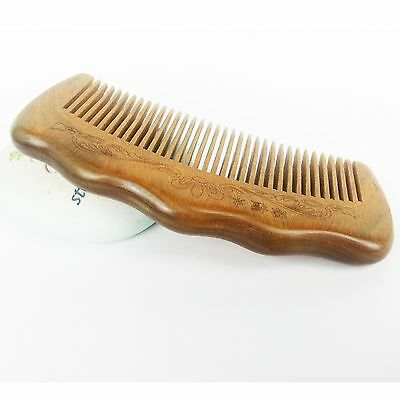 """5"""" Natural Jade Sandalwood Healthy Hair Comb Brush Detangler with Brocade Pouch"""