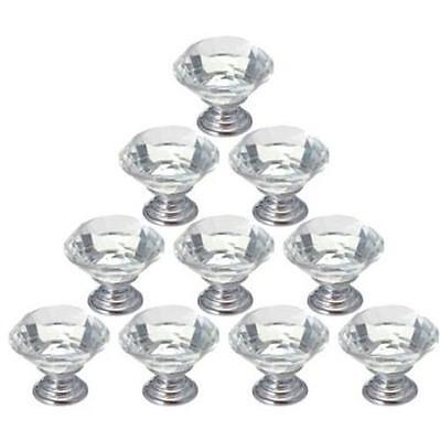 DI US Zinc alloy clear glass crystal cabinet drawer door pulls knobs handle