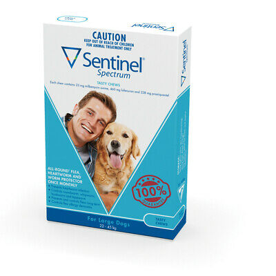 Sentinel Spectrum Flea, Heartworm & Intestinal Wormer for Dogs 22-45kg - 6-Pack