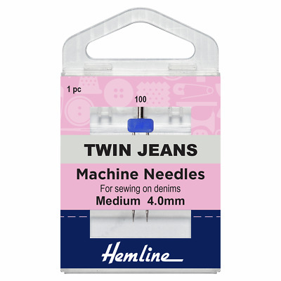 Size 100/16 JEANS with 4mm Gap Sewing Machine Needle - Klasse Twin - Pack 1