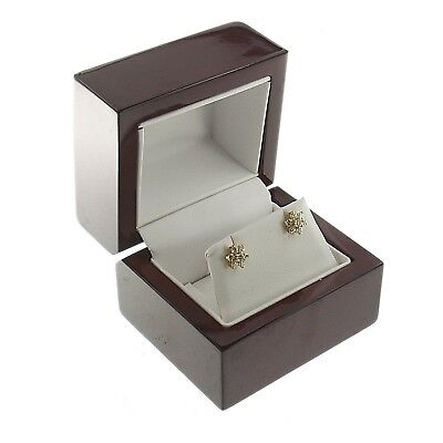 Deluxe Cherry Rosewood Earring Box Display Wood Wooden Jewelry Gift Box