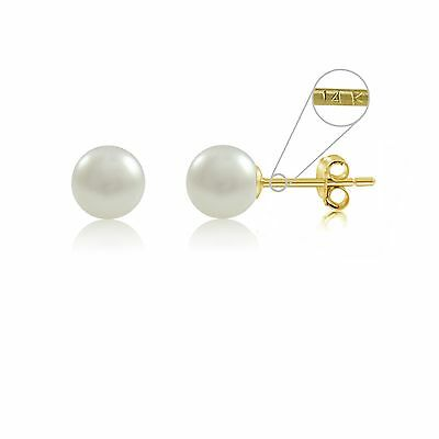 14kt Yellow Gold 4-4.5mm Round Genuine Natural Freshwater Pearl Stud Earrings