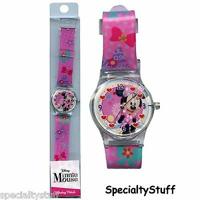 """New Disney Minnie Analog Watch 1-1/4"""" Face Printed Band Childs Time Piece (Te)"""