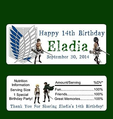 25 Attack on Titan Personalized Birthday Candy Bar Wrapper