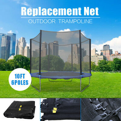 (NET ONLY) 10 FT Trampoline Replacement Safety Net Enclosure FOR 6 Poles AU NEW