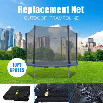 (NET ONLY) 8 FT Trampoline Replacement Safety Net Enclosure FOR 6 Poles AU NEW